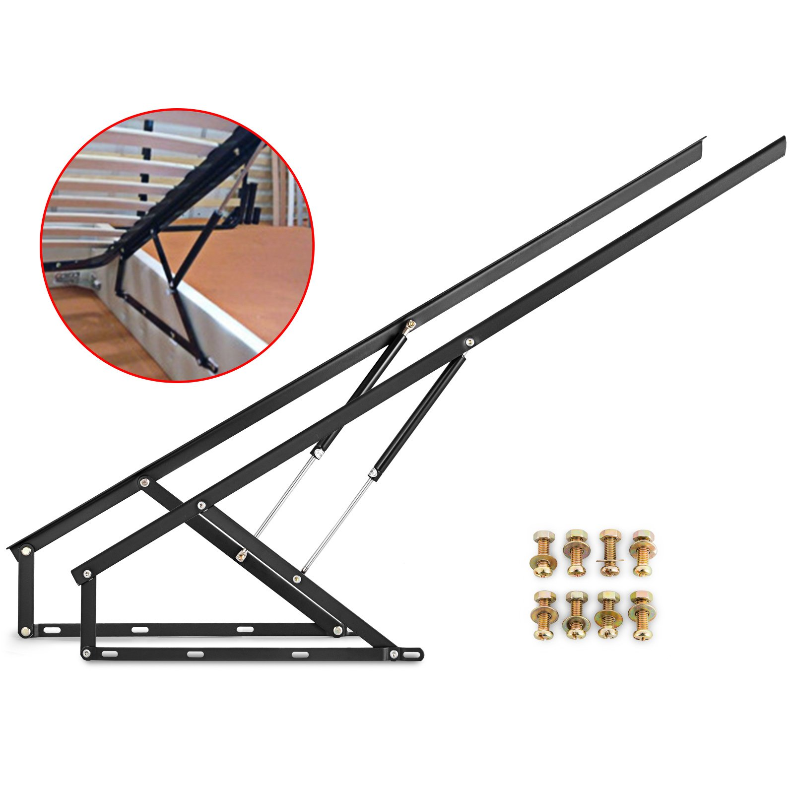 Happybuy Pair of 5FT Pneumatic Storage Bed Lift Mechanism Heavy Duty Gas Spring Bed Storage Lift Kit for Box Bed Sofa Storage Space Saving DIY Project Lifter Lift Up Hardware Black (B150) by Happybuy (Image #5)
