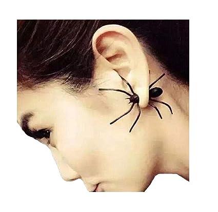 Our Fantasy Time 2 Stück Spider Spinne Ohrring Ohrstecker Tarantel Ideal Accessoire Für Halloween Tarantel Fasching Karneval