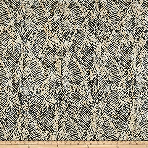 Island Batik Wild Things Snake Skin Gun Metal Fabric by The Yard