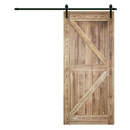 Superb Pine Wood Panel Barn Door Sliding Interior Door Slab With Hardware Kit,  36/42