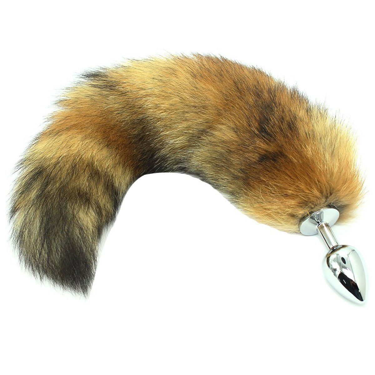 FFF Brown Wild Soft Fox Tail with Smooth Metal Plug SM Cosplay Toy