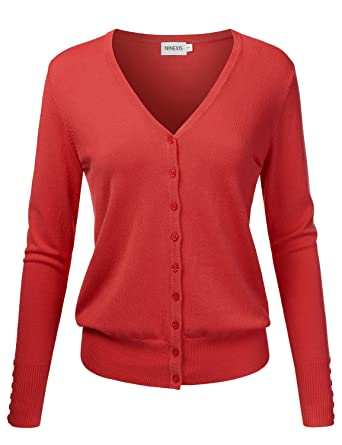 19bd2c80ea NINEXIS Womens Basic Long Sleeve V-Neck Button Down Knit Cardigan Sweater  DARKCORAL S