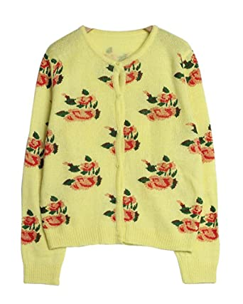 queenneeup Flower Printed Cardigan Sweater, Yellow, Spring ...