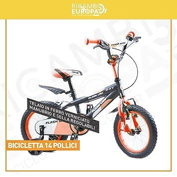BAKAJI bicicleta bicicleta 14 (pulgadas) niño niño Flash Line ...