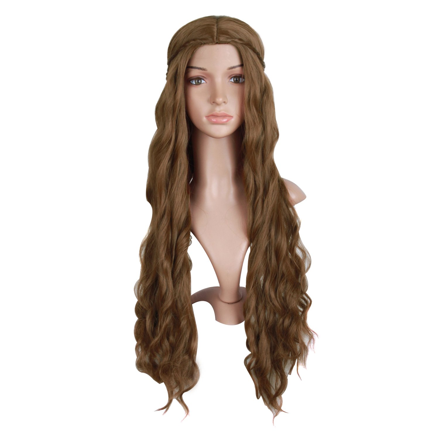 MapofBeauty 30''/75cm Dignified and Elegant Side Bangs Women Long Wavy Curly Cosplay Braided Queen Wigs (Flax Brown)