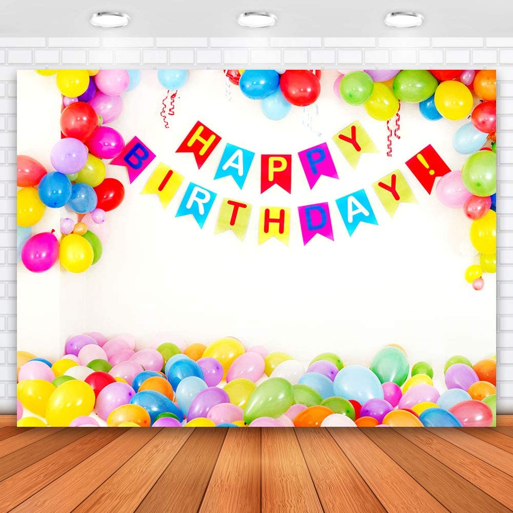Allenjoy 7x5ft Happy Birthday Backdrops Colorful Balloons Backdrops for Photography Birthday Photo Backdrop 1st Birthday Party Decoration Banner