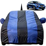 Autofact Car Body Cover for Maruti Baleno (2015 to 2019) with Mirror and Antenna Pocket (Light Weight, Triple Stitched, Heavy Buckle, Bottom Fully Elastic, Royal Blue Stripes with Navy Blue Color)
