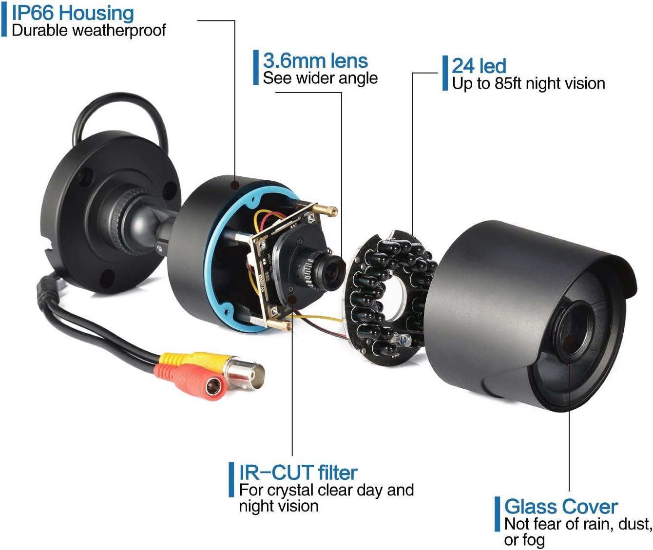 "4PCS 1000TVL 1//4/"" CMOS 24 IR-Cut Dome CCTV Security Wide Angle Camera NTSC MAX"