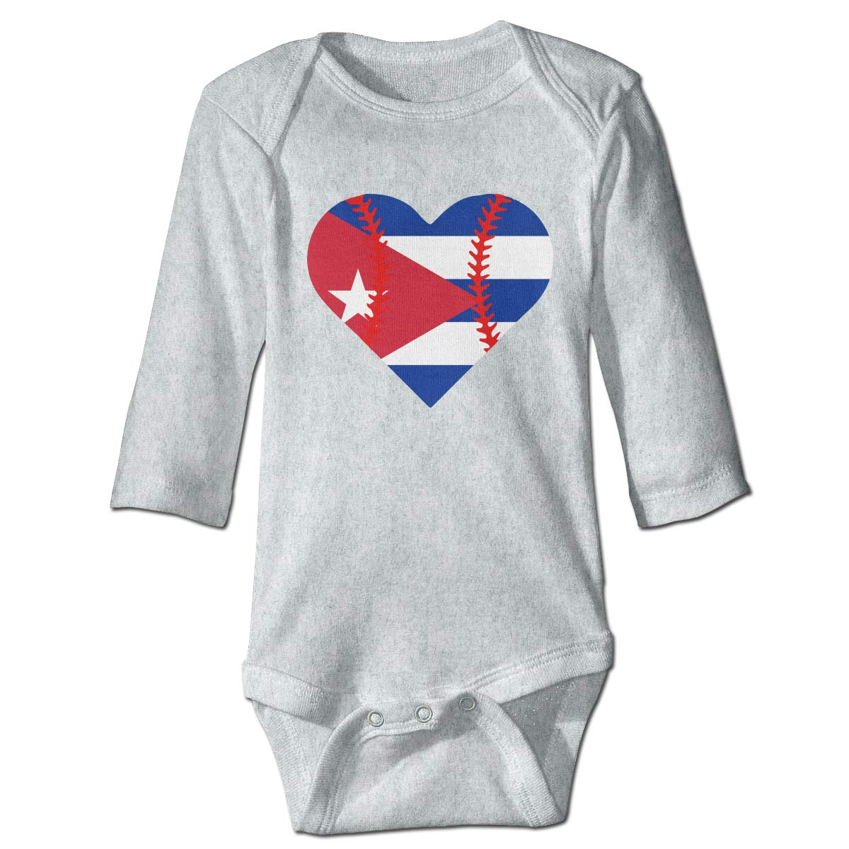 A14UBP Infant Baby Girls Long Sleeve Baby Clothes Cuba Flag Baseball Heart Unisex Button Playsuit Outfit Clothes