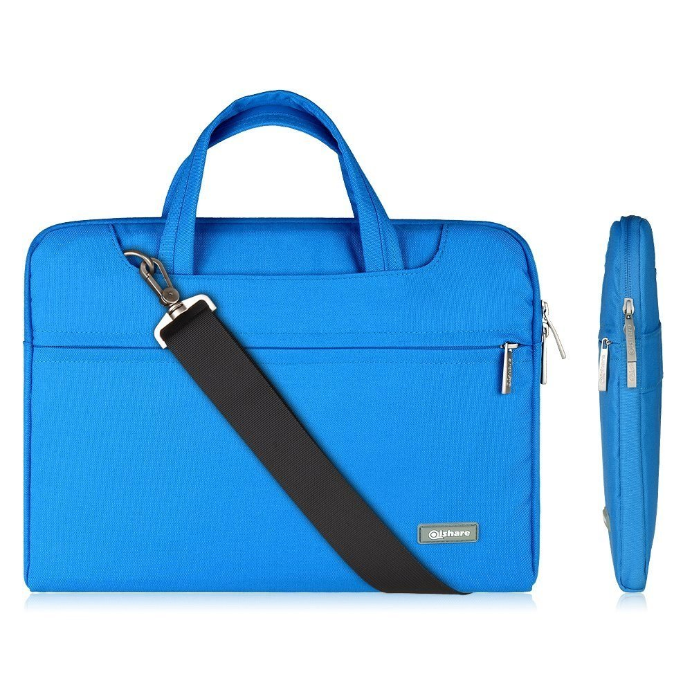 Qishare 11.6 12 Blue Tablet / Laptop / Chromebook / Macbook/ Ultrabook Multi-functional Business Briefcase Sleeve Pouch /Messenger Case Tote Bag Cover with Handle and Carrying Strap for Acer / Asus / Dell / Fujitsu / Lenovo / Hp / Samsung / Sony / Toshiba