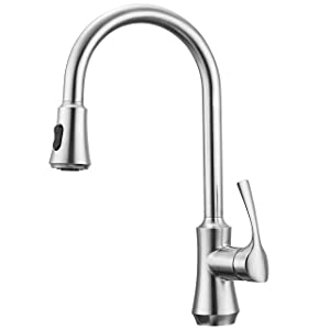 """Primy Kitchen Faucets with Pull Down Sprayer Modern Heavy Duty Lead-Free Single Handle High-Arc Kitchen Sink Faucet With Deck Plate, Height 18-15/64"""", Solid Spot Resist Stainless Steel"""
