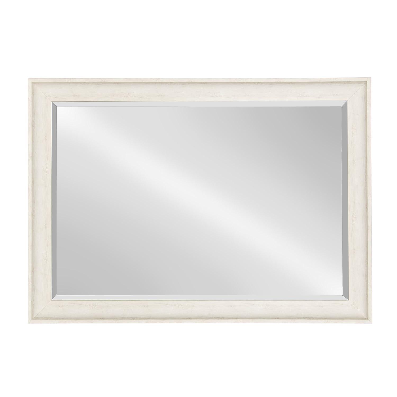 Kate and Laurel McKinley Framed Wall Vanity Beveled Mirror, 28.5×40.5, Distressed White