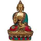 SHOP END HERE Brass Buddha In Blessing Posture with Sacred Kalash and Draped with Stone Embellished Shawl (Multicolour)