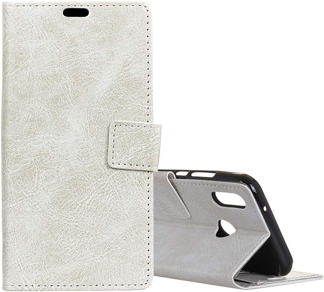 Para fundas y fundas Huawei con soporte y ranuras para tarjetas y marco de fotos, funda de cuero estilo rifle horizontal con textura de caballo enfermo retro para Huawei Honor 8X ( Color : Blanco )