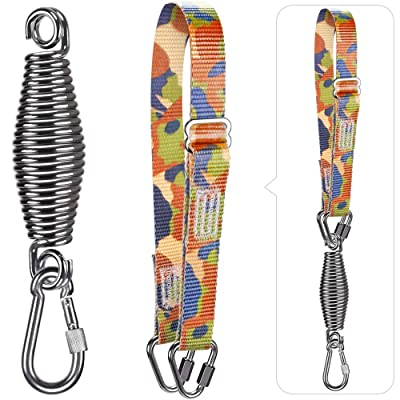 Dolibest Punching Bag Hangers Strap,Heavy Bag Hanger Strap with Spring and Carabiner for Home Gym Training Workout Fitness Conditioning Pull Ups and Dips Exercises Equipment (Camouflage)