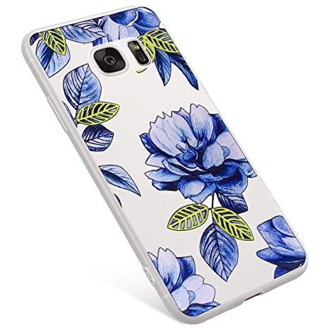 1d53f17430a Uposao Funda Samsung Galaxy S7 Edge Carcasa Scrub Transparente Dibujos Flor  Animados Premium Ultra Hybrid Fina