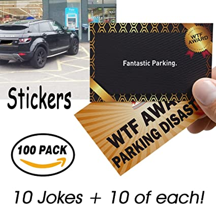 Amazon Com 100 Pack Stickers Bad Parking Business Cards 10 Designs