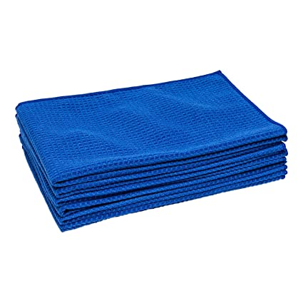 Microfiber Waffle Weave Kitchen Towels | Absorbent Drying Towels for  Kitchen, Counters, Dishes, Glass, Hands | Streak-Free | Blue - Large (16 x  24) 6 ...