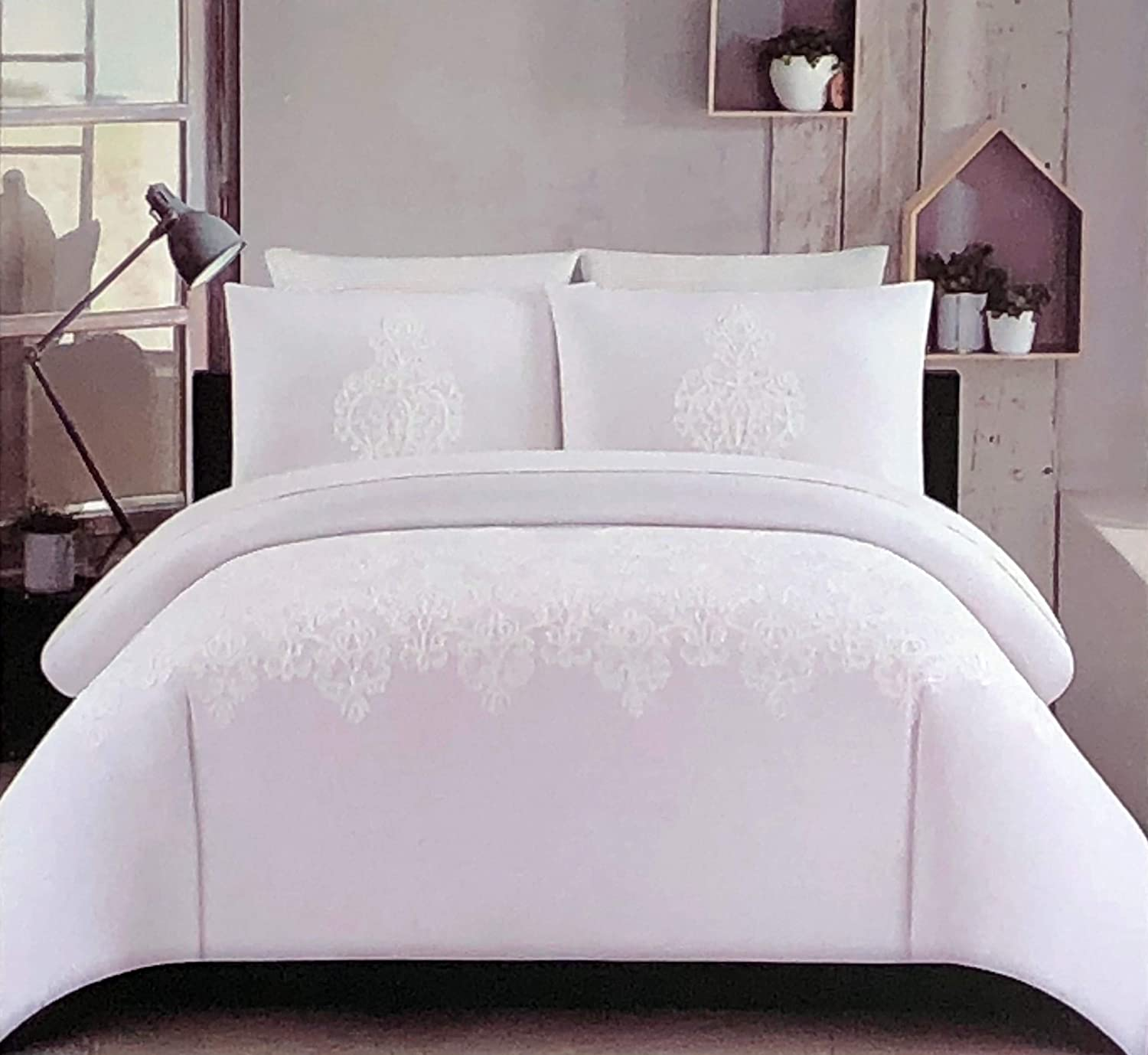 Tahari Home 3pc Duvet Cover Set Raised Embroidered Damask Medallion Pattern in White Thread on a Snow White Background (Full/Queen)
