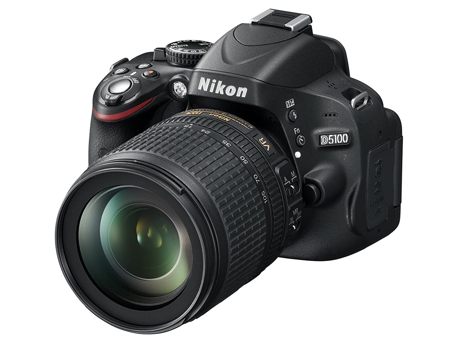 "Nikon D5100 - Cámara réflex digital de 16 Mp (pantalla 3"", estabilizador, vídeo Full HD), color negro - kit con objetivo AF-S DX 18-105mm VR [importado]"