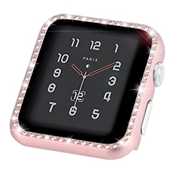 Aottom compatible con Apple Watch Case 44mm iWatch Series 4 carcasa para mujeres niñas diamantes de imitación metal cara Bling Glitter marco carcasa ...