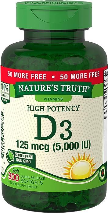 Nature's Truth Vitamin D3 5000 IU | 300 Softgels | High Potency Vitamin D | Non-GMO Gluten Free