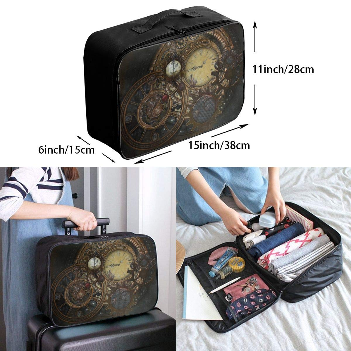 Lightweight Large Capacity Duffel Portable Luggage Bag Steampunk Clocks Travel Waterproof Foldable Storage Carry Tote Bag
