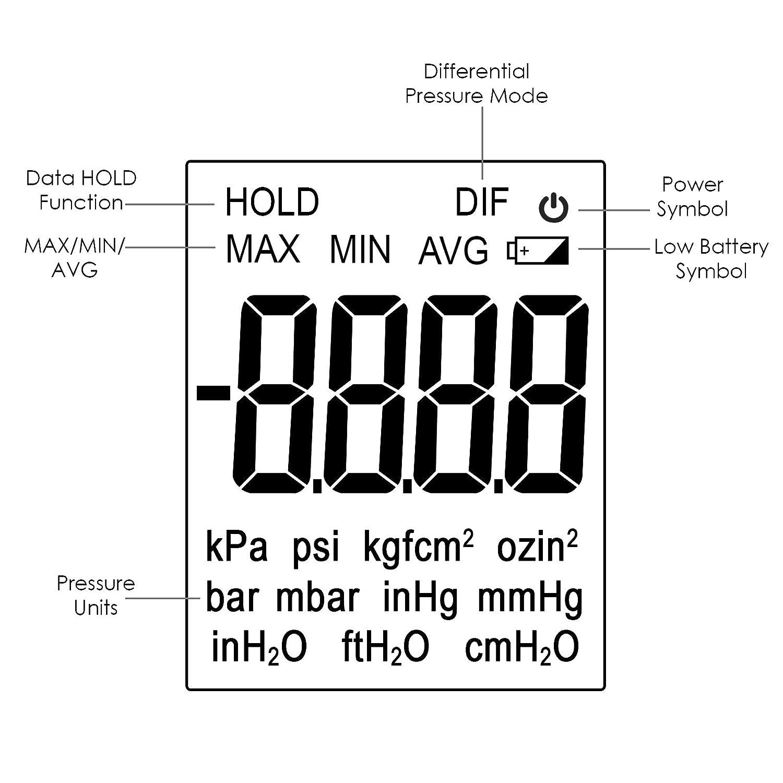 Professional Digital Manometer, Portable Handheld Air Vacuum/Gas Pressure  Gauge Meter 11 Units with Backlight, ±13 78kPa ±2PSI, Suitable for