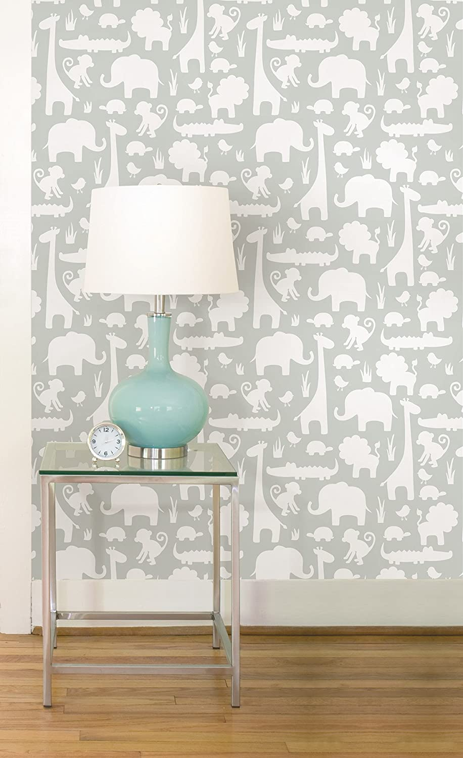 wall pops nu1392 green its a jungle in here peel and stick wallpaper amazoncom