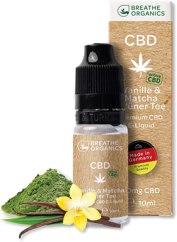 Premium Active CBD Liquid de Breathe Organics® | CBD Liquid 100mg con la nueva tecnología activa CBD | libre de nicotina | Hecho en alemania | Té verde de vainilla y matcha NO NICOTINA!