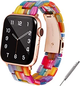 WILNARA Watch Band Compatible for Apple Watch 38-40mm Women Men, Lovely & Fashion Resin Strap with Metal Stainless Steel Buckle for iWatch Series6/ 5/4/3/2/1-Rainbow