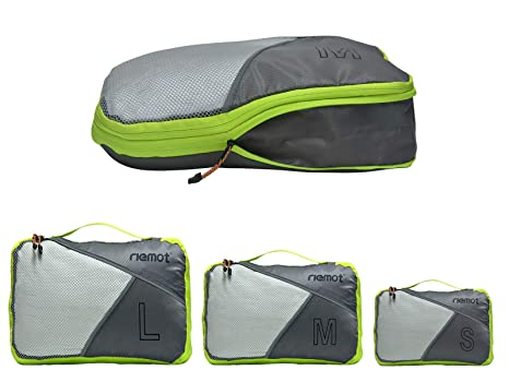 Packing Cubes de Compresión, Organizadores de Equipaje, Set de 3 Organizador para Maletas, Bolsas para Ropa Zapato Sucia de Viaje, Accesorios para ...