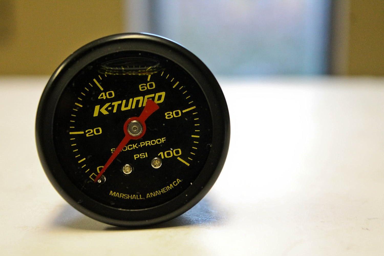 K-Tuned Fuel Pressure Gauge (BLACK) Marshall 0-100 psi UNIVERSAL KFR-FPG-B55 K Tuned
