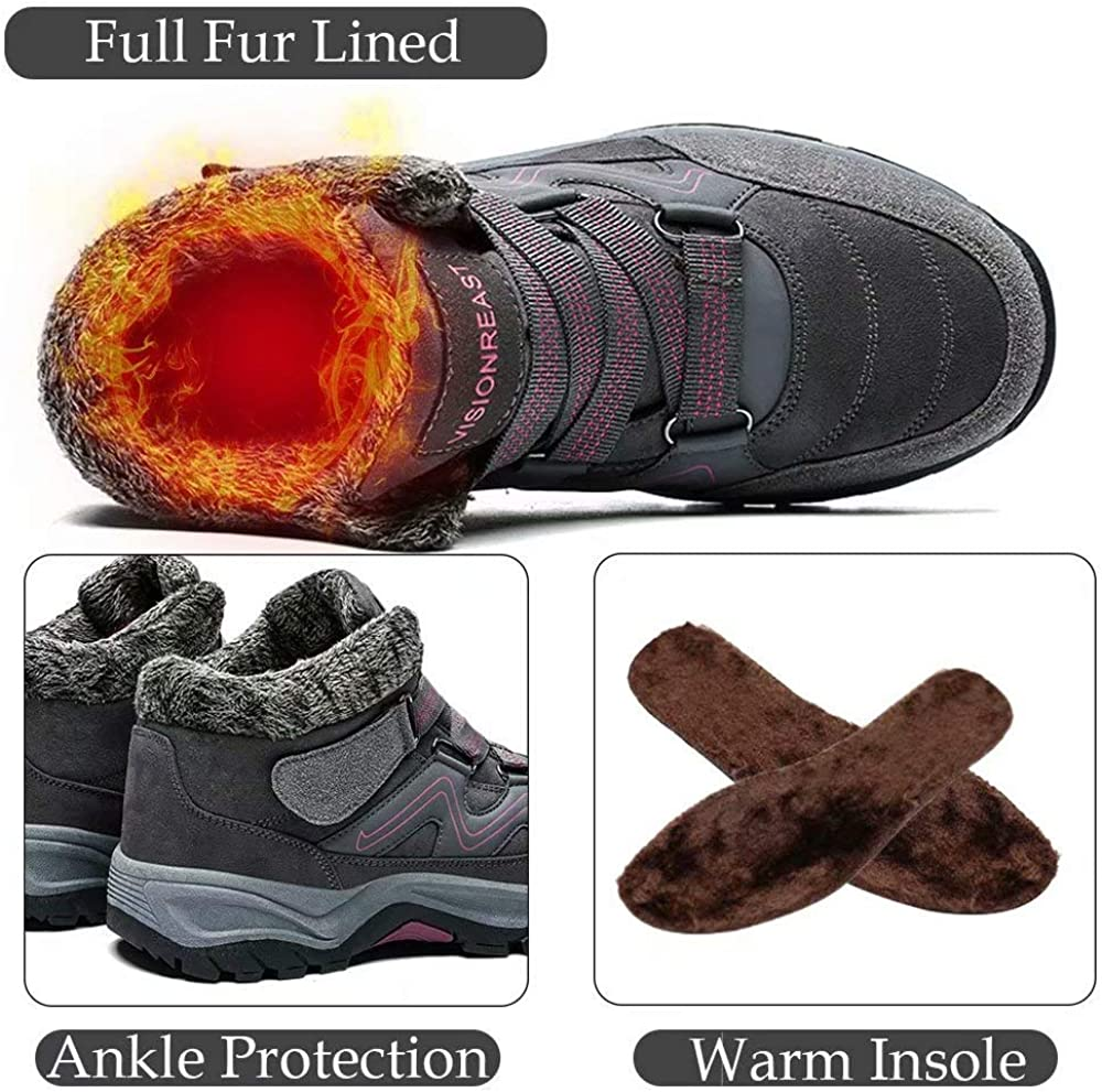 visionreast Men Womens Winter Snow Boots Fur Lined Warm Shoes Slip on Walking Shoes High Top Sneakers Outdoor Hiking Shoes