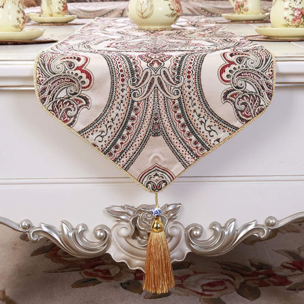 素朴な結婚式、装飾用のテーブルランナーと縫い付けエッジテーブルランナーランナーとドレッサースカーフ、紫、ベージュ(色:ベージュ、サイズ:35 * 220 cm)   B07SGJ7FL1