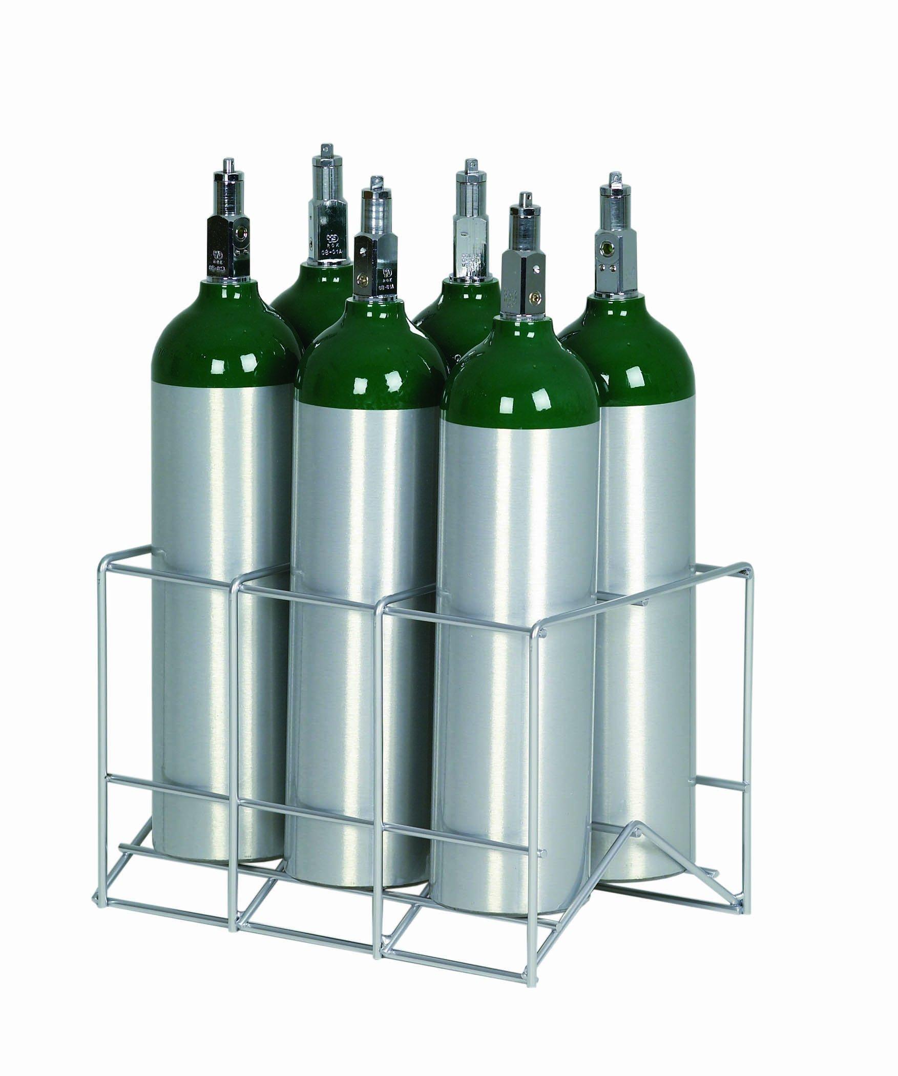 6 Cylinder Metal Rack for D / E / M9 Oxygen Cylinders