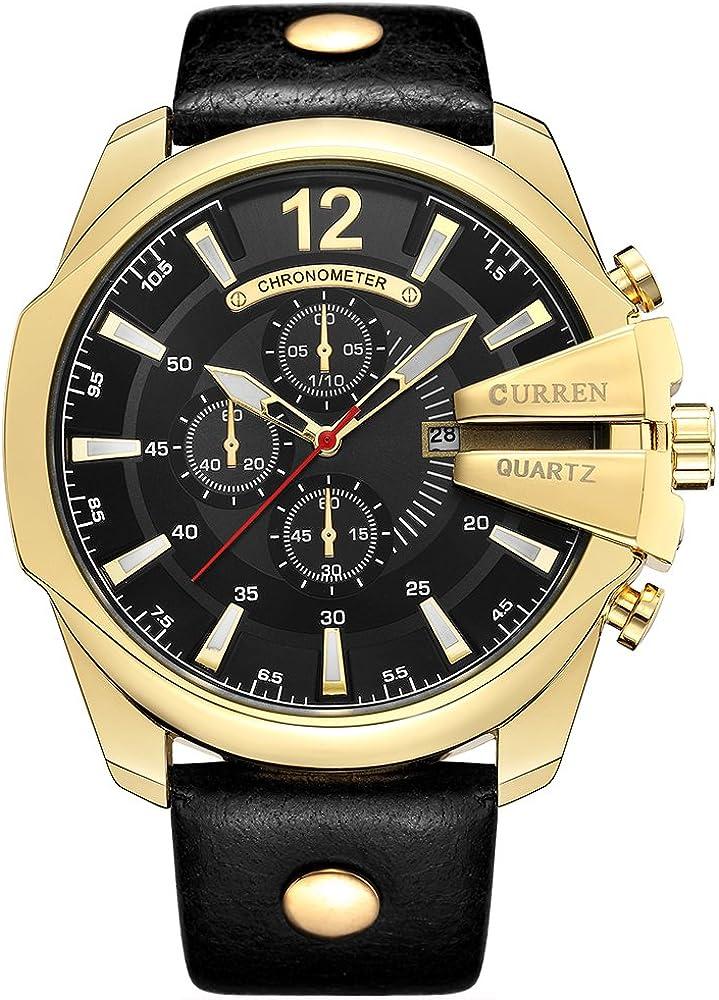 Reloj de moda, para hombre y mujer, color dorado