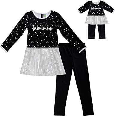 Girl 4 5 and Doll Matching Black Leggings Pants Fit Dollie /& Me American Girls