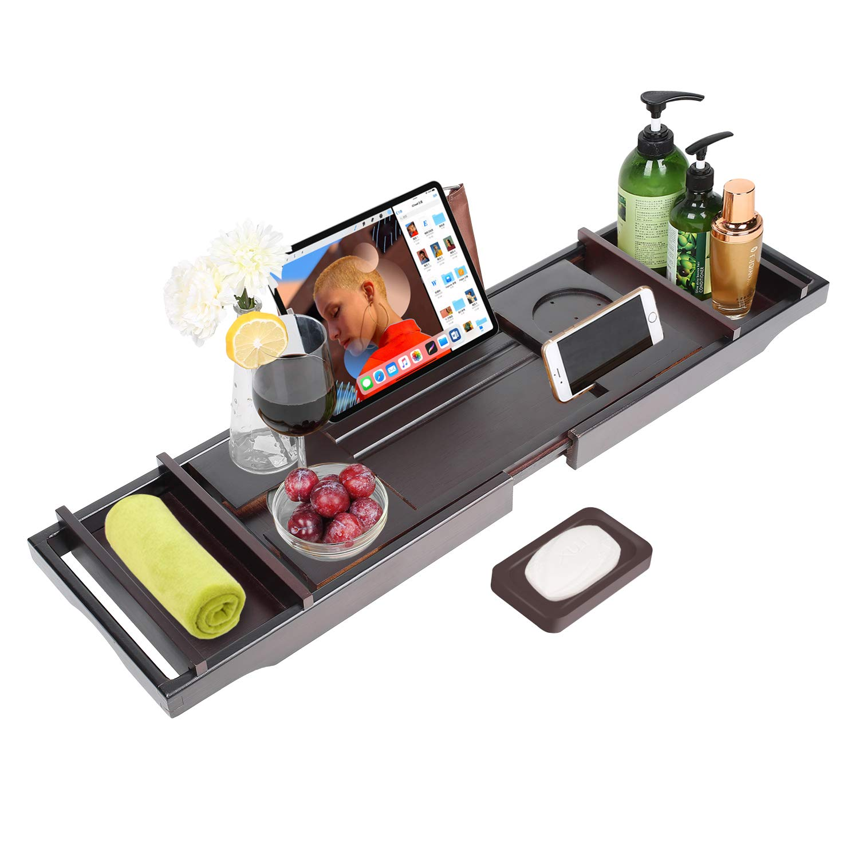 Bamboo Luxury Bathtub Caddy, Bamboo Bath Tub Tray with Extending Sides, Shower Organizer