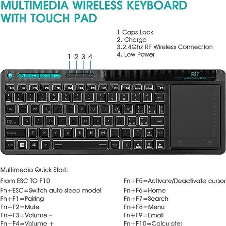 Rii Mini i18+ Wireless (Layout Italiano) – Teclado retroiluminado con ratón táctil multitáctil para Smart TV, Mini PC, HTPC, consola, ordenador