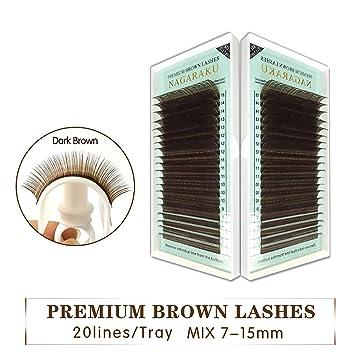 Amazon.com : Mix 7~15Mm, Brown Eyelash Extension Lashes Brown Eyelashes.Faux Mink False Eyelashes Light Brown Color Maquiagem Cilios, B, 0.07Mm, ...