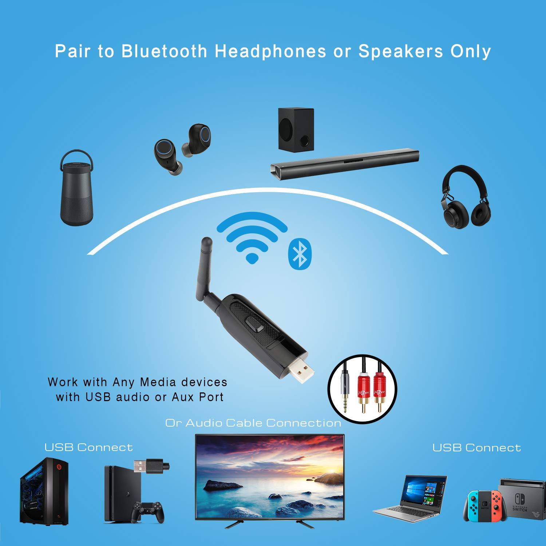 plug and Play Giveet Portable USB Bluetooth audio transmisor adaptador dongle para PC de escritorio port/átil MP3 Mac auriculares altavoces Dual Link aptX baja latencia con 3.5 mm AUX