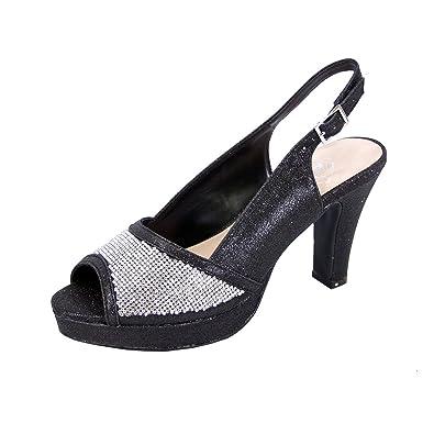 a7220282d2fa Floral Nadia Women Extra Wide Width Rhinestone Studded Peep-Toe Platform  Slingback Black 5