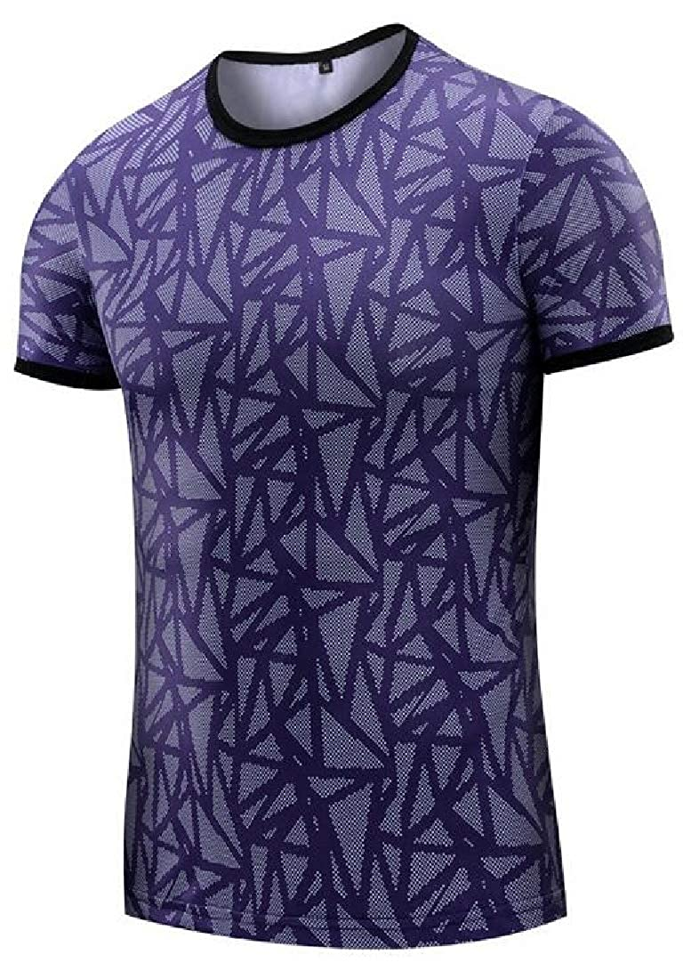 Domple Men Printed Quick Dry Round Neck Gym Trainning Base Layer Compression Short Sleeve T-Shirt Tee