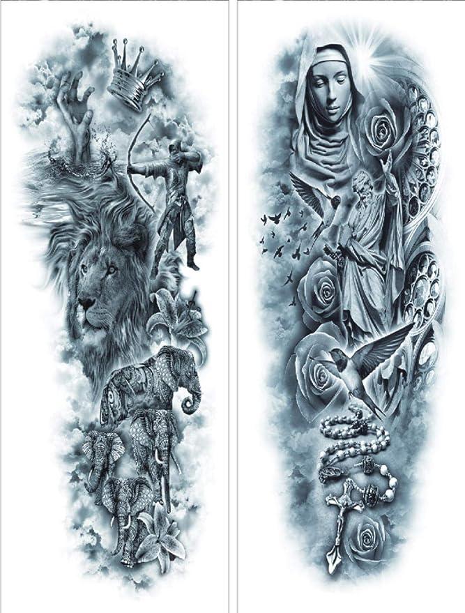 Tatuajes Temporales A Prueba De Agua León Flor Pájaro Body Art ...