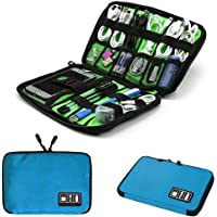 ROSETTE Travel Cable Organizer Portable Electronics Accessories Cases for Hard Drives, Charging Cords, USB Charger, Fluorescent - Blue