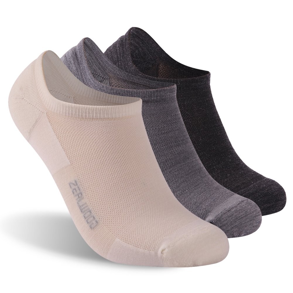 ZEALWOOD Low Cut Running Socks,Women No Show Cushion Antimicrobial Athletic Socks Gift Socks 3 Pair-Black/White/Grey,Large by ZEALWOOD