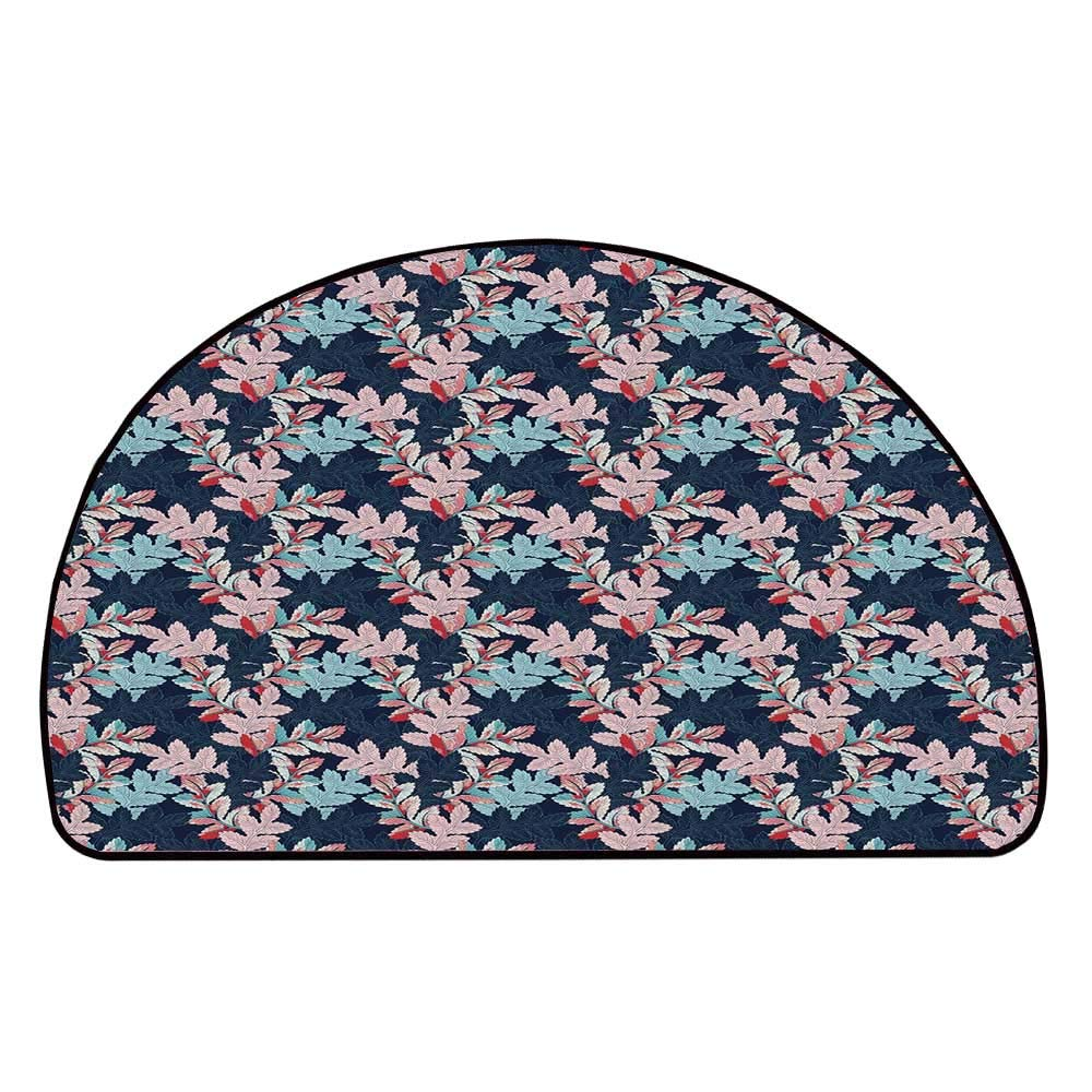 C COABALLA Floral Comfortable Semicircle Mat,Ornamental Vivid Exotic Leaves Botanical Foliage Textured Artisan Retro Graphic Art Decorative for Living Room,11.8'' H x 23.6'' L
