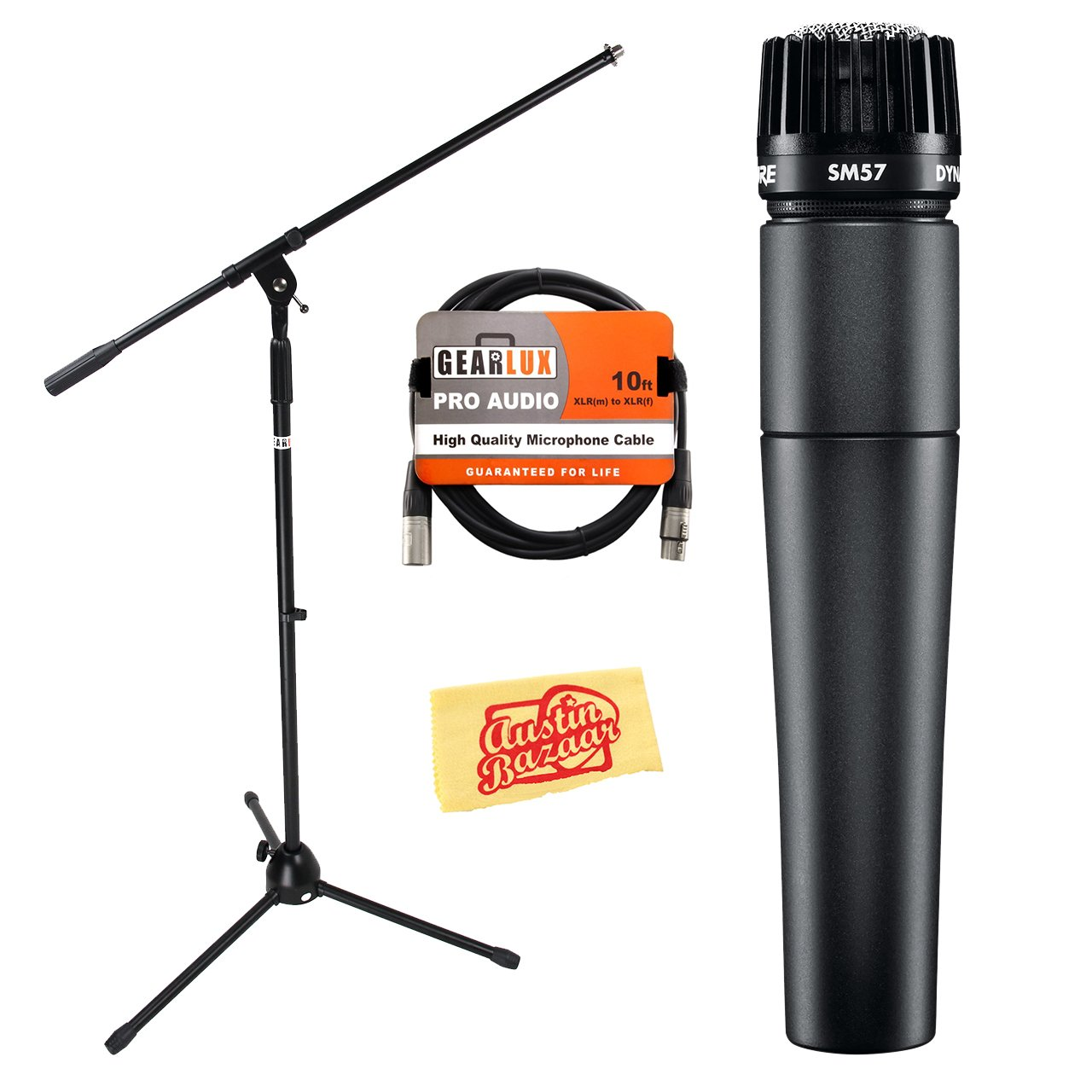 Shure SM57-LC Cardioid Dynamic Instrument Microphone Bundle with Boom Stand, XLR Cable, and Austin Bazaar Polishing Cloth