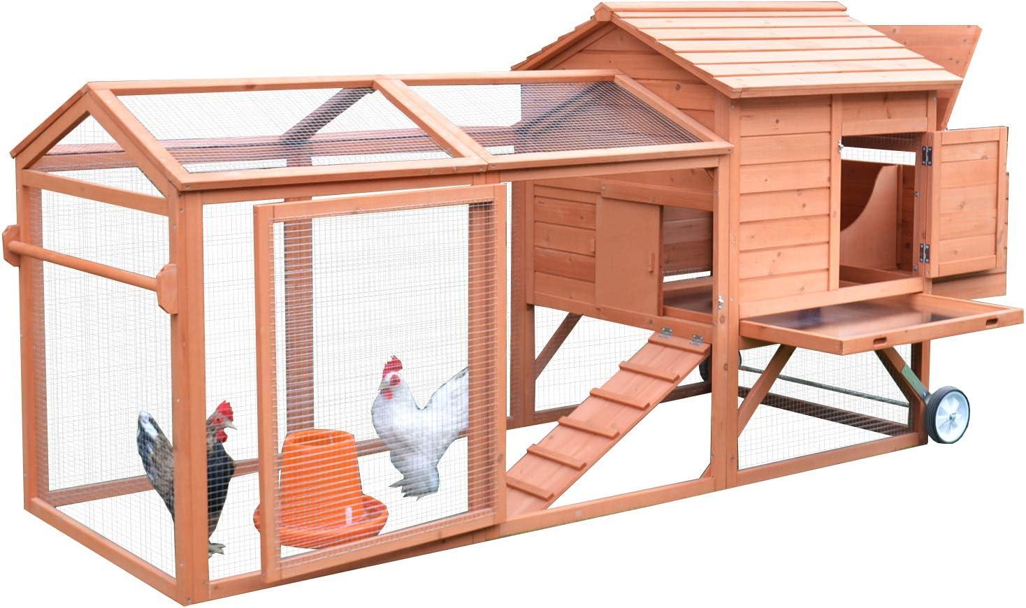 "B00GU2W54Q PawHut 98"" Portable Wooden Chicken Coop With Wheels Outdoor Run and Nesting Box 71GAV854gUL"